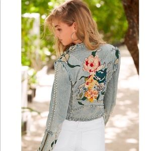 NWT Blank NYC Embroidered & studded jean jacket